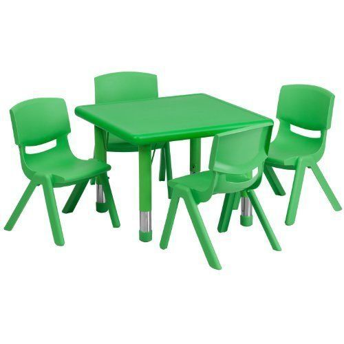 Kids Table And Chairs Set Activity Dining Room Little Party Play Round Green #Unbranded