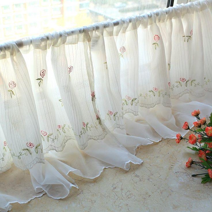 Cantonnière à motif Floral romantique en mousseline Rideau de cuisine brodé 59…