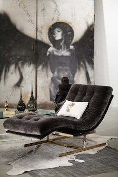 Velvet Interior Inspiration with large scale wall art