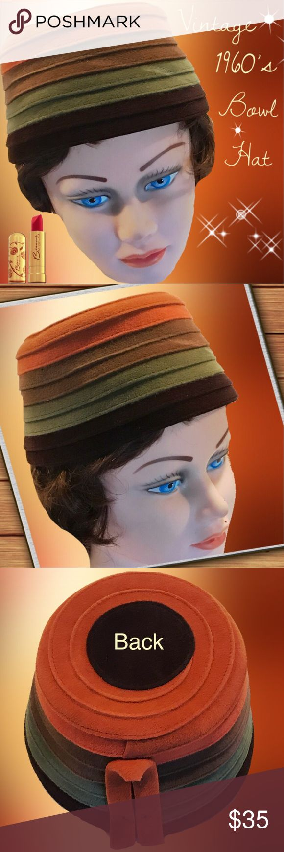 "VINTAGE 1960's Bowl Hat Vintage retro 1960's bowl hat in excellent condition. Inner circumference is 21"". Accessories Hats"