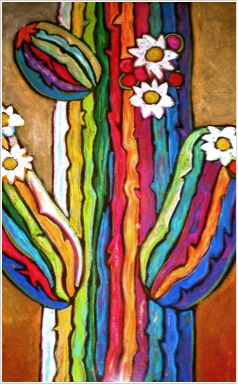 """Saguaro in Color"" 28""x24"" by Jenny Willigrod. www.Jennywilligrod.com www.fountainhillsartistsgallery.com"