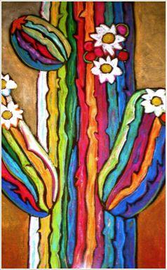 """""""Saguaro in Color"""" 28""""x24"""" by Jenny Willigrod. www.Jennywilligrod.com www.fountainhillsartistsgallery.com"""