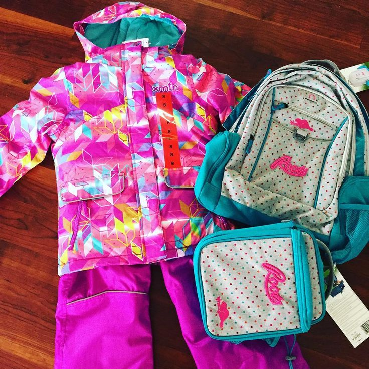 Back to school shopping started ✔️ #snowsuit #Costco #roots #bookbag #colour #size8 #omg #xmtn #backtoschool #girly #pink #polkadots #fun #playfull #canadian #winterready