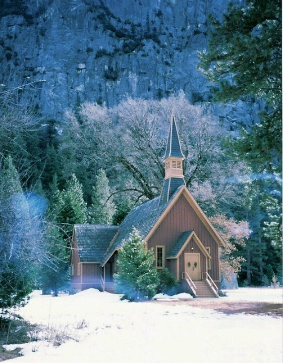 Beautiful Church in the Snowy Forest