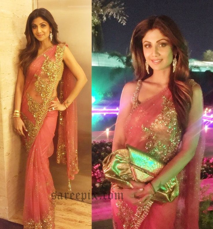 Yoga beauty Shilpa shetty in pink saree photos,designed by Rimple and Harpreet narula. She looks beautiful in embroidery work saree with matching sleeveles