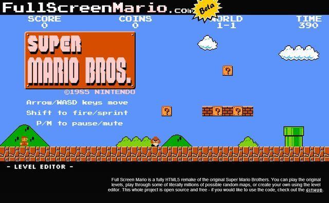 Full Screen Mario, divertido juego de Super Mario Bros creado en HTML5