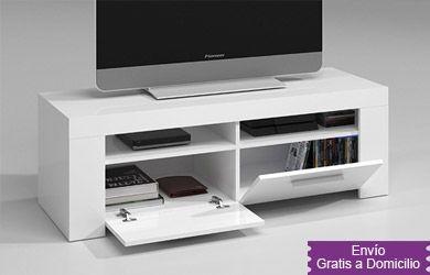 115€ Mueble TV para la televisión en color blanco brillo ...