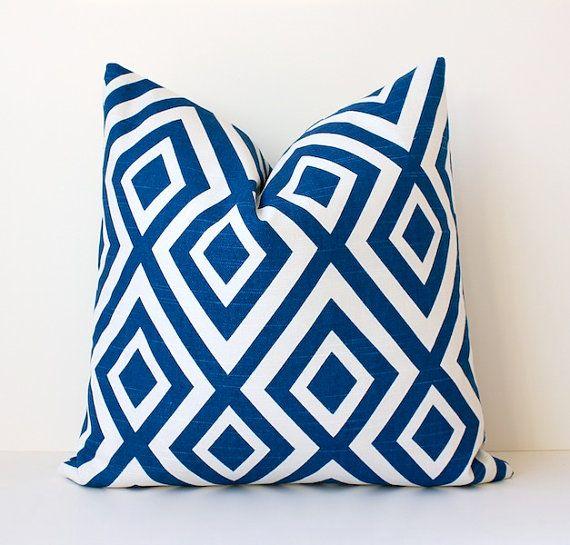 Geometric Blue decorative Designer Pillow Cover 18 White Trellis Accent Throw Cushion lattice modern hicks la fiorentina royal cobalt baltic via Etsy, $42