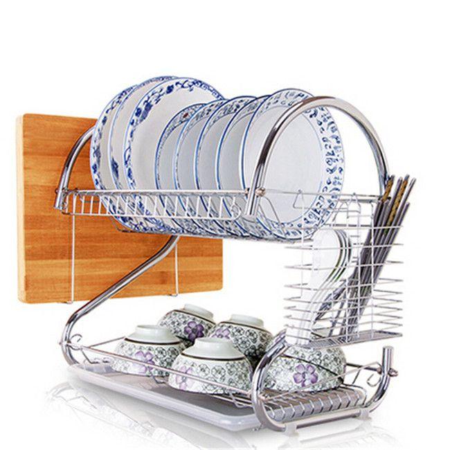 Stainless bowl rack 2 layer drain dish rack food grade stainless kitchenware storage holder & racks free shipping Q-278(China (Mainland))