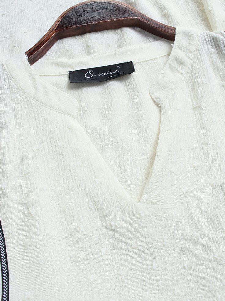Casual Solid Color Tassel V-neck Half Sleeve Plus Size Blouse 17