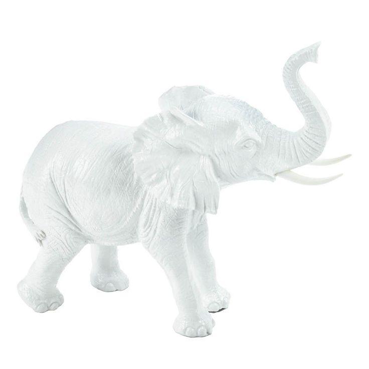7 white ceramic elephant statue figurine african jungle safari home decor