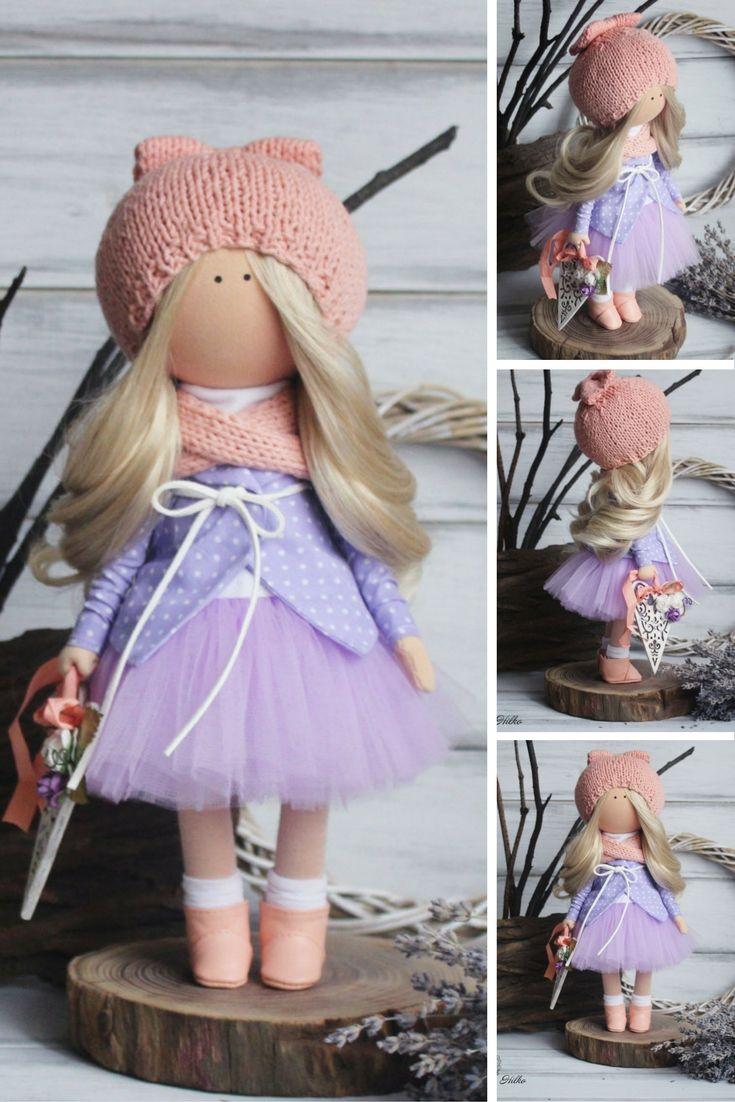 Art doll handmade purple pink blonde Fabric doll Decoration doll Baby doll Interior doll Tilda unique magic doll