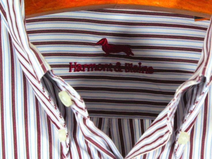 HARMONT & BLAINE 100% Cotton Button front MENS STRIPED Oxford SHIRT 3XL