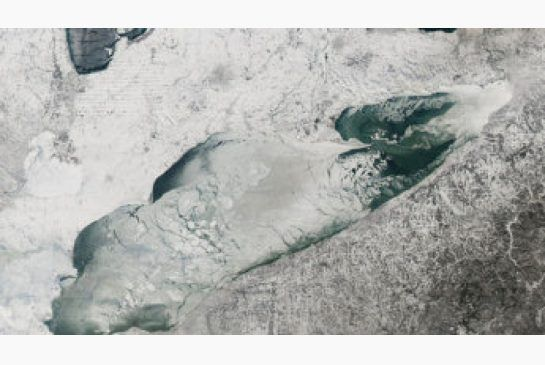 Cold weather has an upside, if you're a grey wolf or whitefish: Ice can be seen covering most of Lake Erie in this NASA satellite image taken earlier this month. The Great Lakes ice coverage has reached 6...