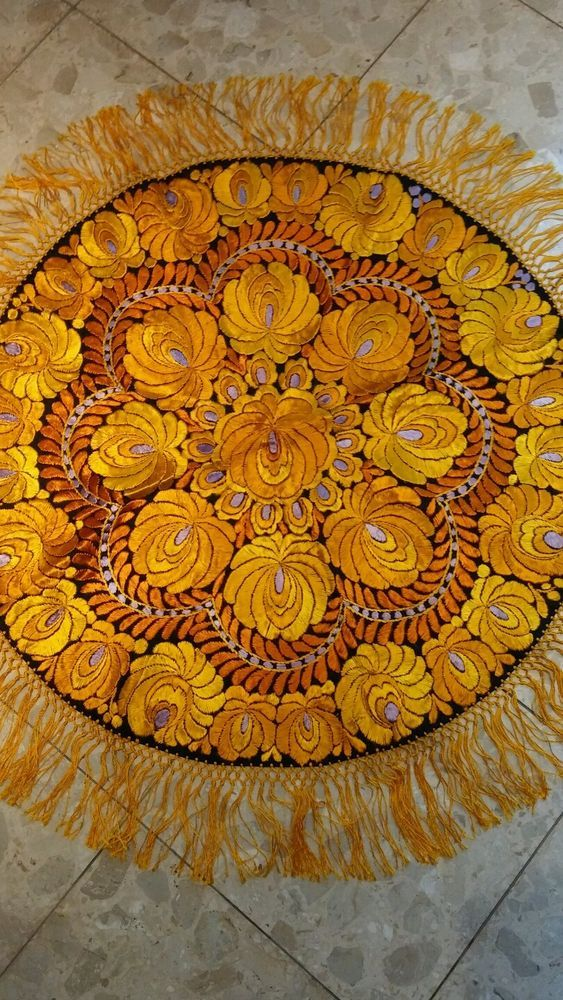 Beautiful unique Matyo  Hungarian embroidery tablecloth