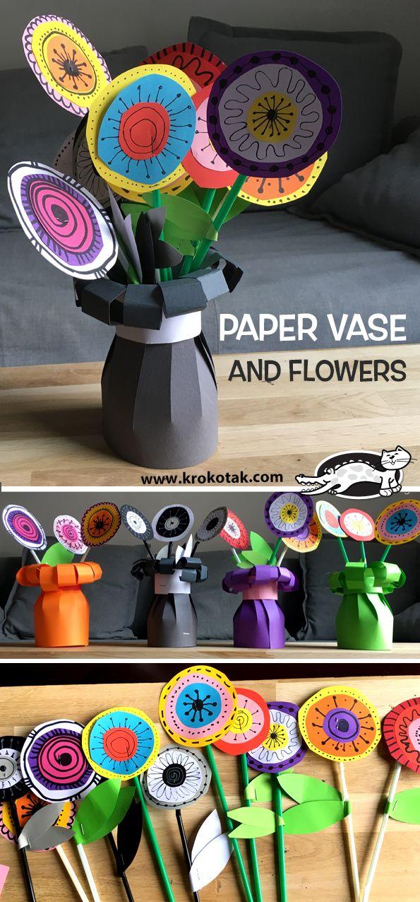 PAPER VASE AND FLOWERS (krokotak)
