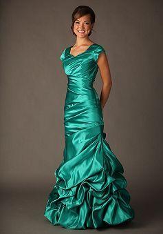 Dazzeling Satin Queen Anne Short Sleeve Fit N Flare Prom Dress - Lunadress.co.uk