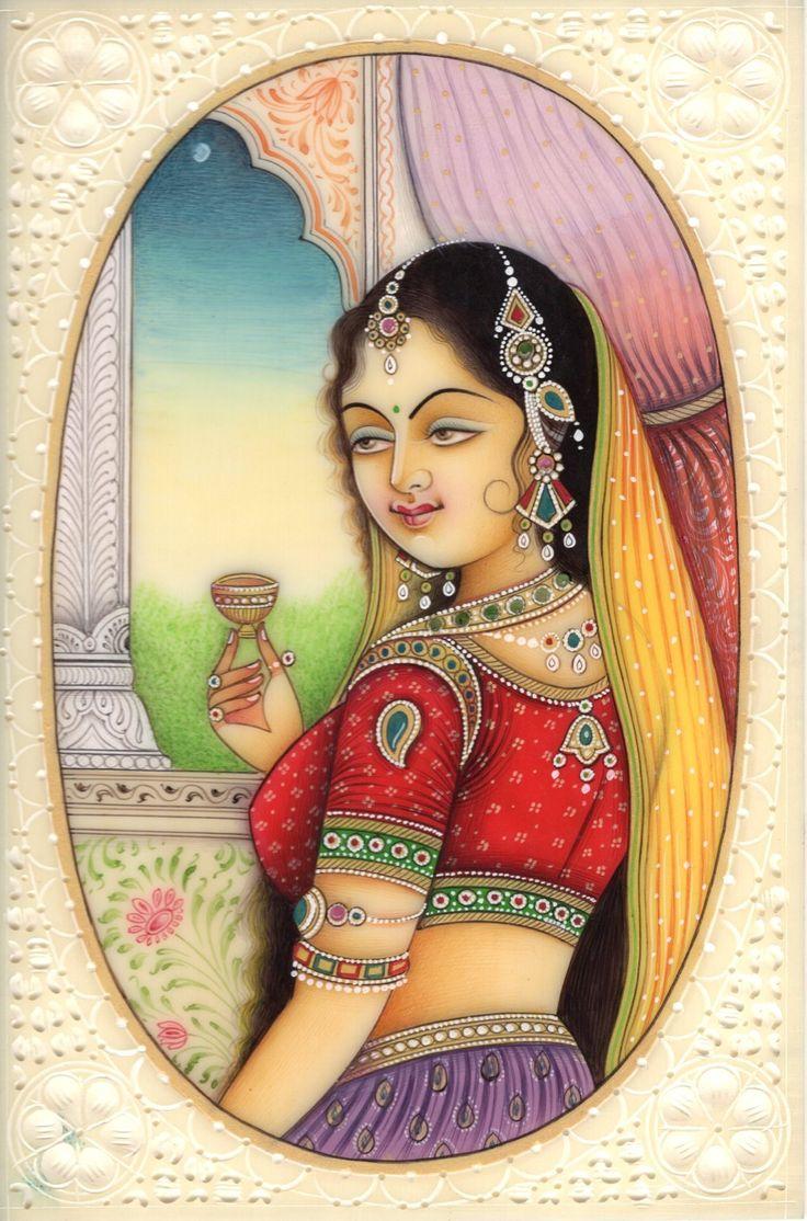 Indian Miniature Painting Lady Princess Handmade Watercolor Portrait Ethnic Art