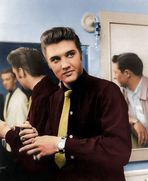 Elvis and Scotty in the dressing room (this photo has been colorized) 1957; Vancouver, Canada 1957.
