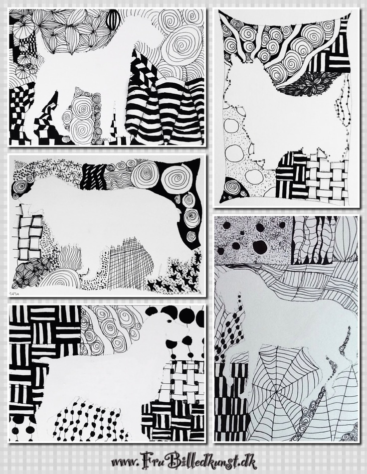 Negative space zentangles- maybe with student's sillhouette in a CONTRASTING pose that tells about their pesonality? Shy/Ougtoing, Loud/Quiet, Serious/Goofy, etc.