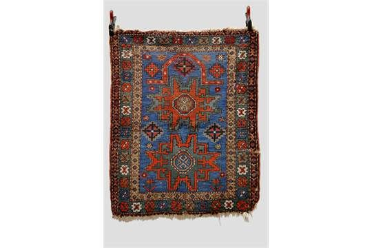 Kazak prayer rug with two Lesghi stars, south west Caucasus, early 20th century, 4ft. 1in. x 3ft.