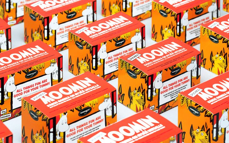 Packaging for Moomin branded products by graphic design studio Bond, Finland