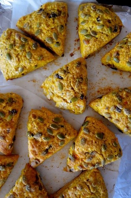 Dark Chocolate Pumpkin Scones with Pumpkin Seeds