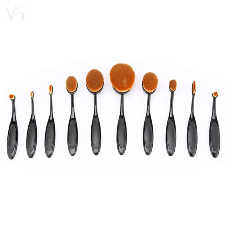 V5 Makeup Brushes 10 Pcs Tooth Brush Shape Oval Makeup Brushes Set Foundation Contour Powder Eyebrow Blush Eyeshadow Brush Set #Affiliate