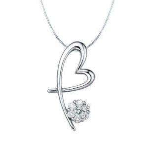Heart Shape Diamond Pendant on 10k White Gold