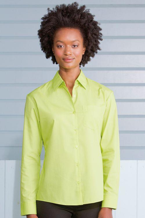 Cămaşă Poplin cu mâneca lungă Russell Collection | logofashion.ro #camasidama #camasipromotionale #camasipersonalizate #textilepromotionale