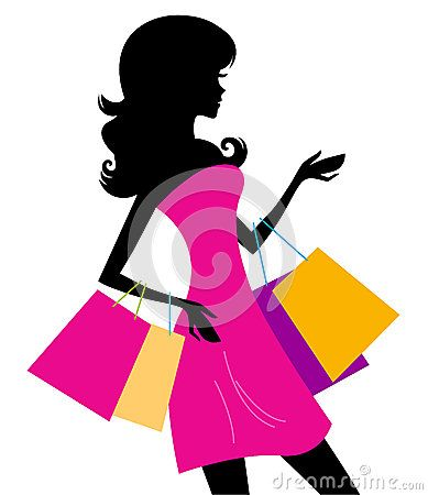 Shopping girl with pink bags silhouette. Vector illustration