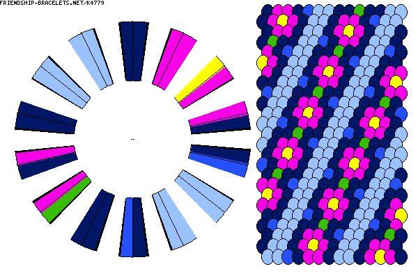 K4779 - friendship-bracelets.net.                   28 strings.   6 colours