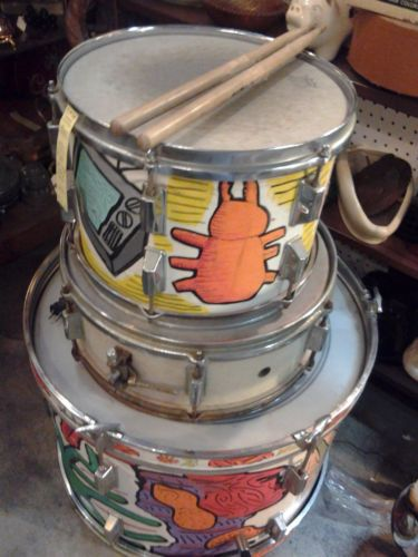 Vintage Hand Painted 4 Piece Drum Set Artist Rendered for Home Decor Tables