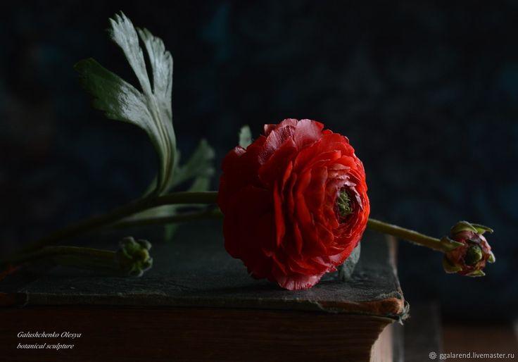 Купить Ранункулюс (садовый лютик) из полимерной глины - любовь, весна, красный, страсть, полимерная глина