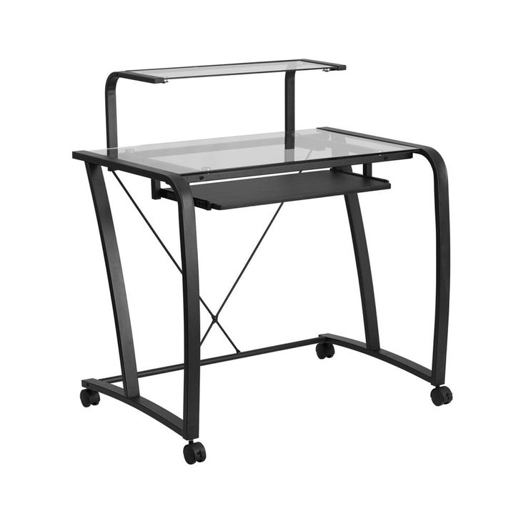 Offex Mobile Computer Desk with Pull-Out Keyboard Tray and Monitor Platform