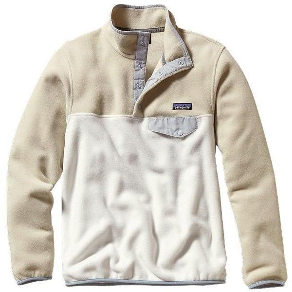 Patagonia Women's Lightweight Synchilla® Snap-T® Pullover ($75) ❤ liked on Polyvore featuring tops, t-shirts, tops/outerwear, patagonia t shirts, sweater pullover, white pullover, white fleece pullover and snap top