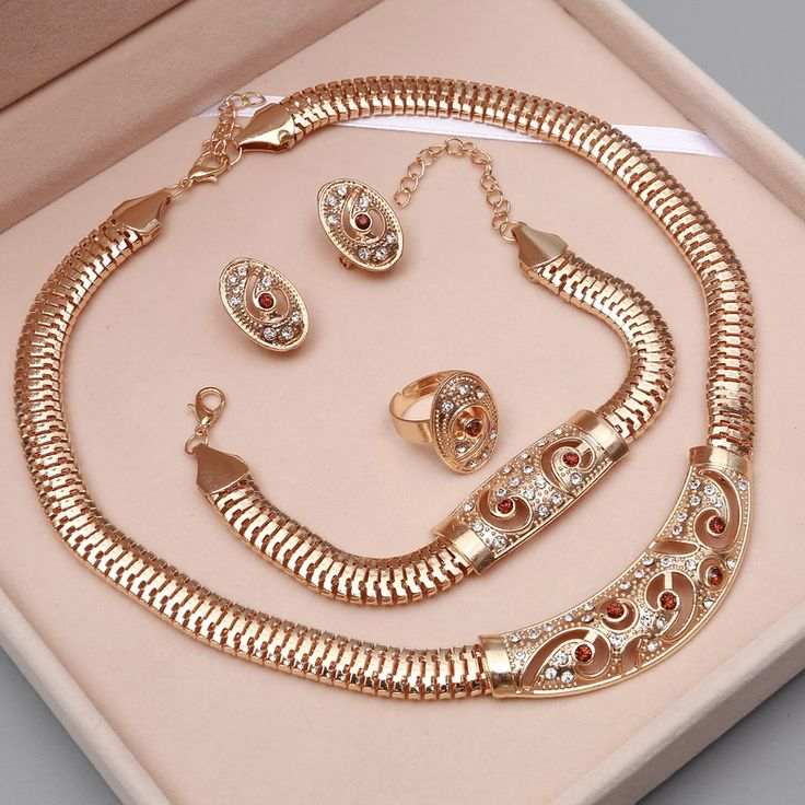 African Beads Wedding Accessories Jewelry Sets Summer Style Crystal Gold Plated Jewelry Necklace Bracelet Earrings Rings Set