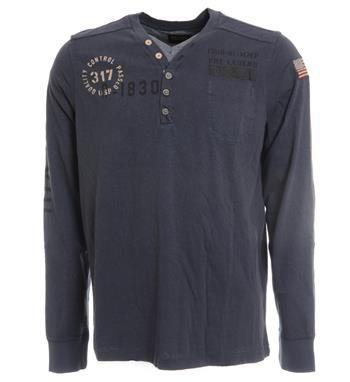 PME Legend t-shirt met een print aan de voorzijde. Deze grandad slub jersey is voorzien van een dubbele v-hals - Navy - NummerZestien.eu