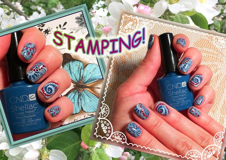 Стемпинг на Гель Лак CND Shellac с пластиной CICI@SISI 03 (Stamping nai...