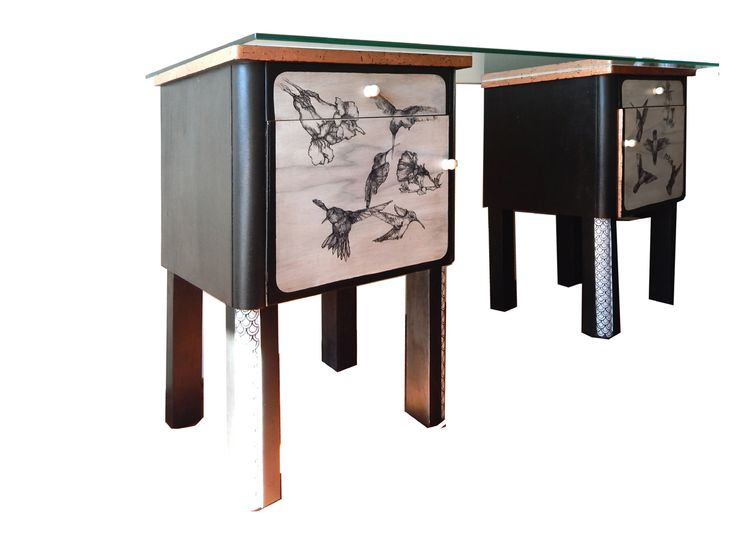 drawing on the old night cabinet change inti a table. drawing by a very thin head, on very light wooden wall this cabinet