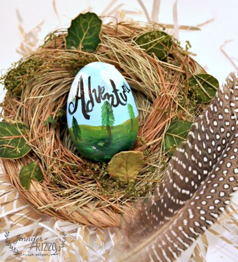 Adventoursly painted Easter eggs decorating idea with acrylic paint for fake eggs. Fun to do and can be left out past Easter!