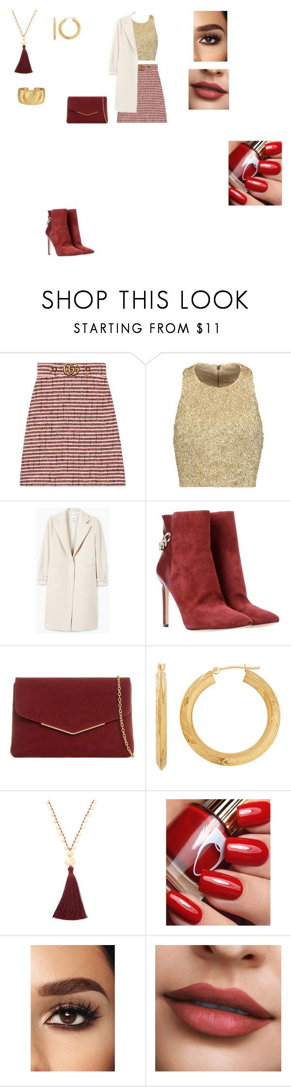 """NIght out Outfit"" by helena94-1 on Polyvore featuring Gucci, Alice + Olivia, MANGO, Nine West, KoKo Couture, Everlasting Gold, Gorjana and polyvorefashion"