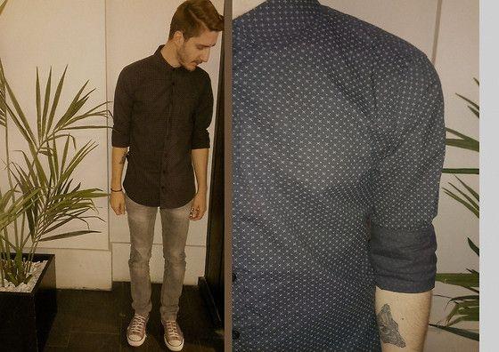 #shirt #grey #jean #green  #converse