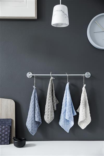 T44: Design 3 Klut med lange masker #bomull #cotton #strikk #knit #klut #washing