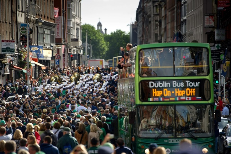 The Band of the Fighting Irish marches through the Temple Bar district of Dublin. (Notre Dame Admissions/Facebook): Bar District, Temples Bar, Dame Admiss Facebook, Dame Photography, Bands Temples, 9 1 12 Bands, Bar 1 Jpg, The Bands, Our Lady