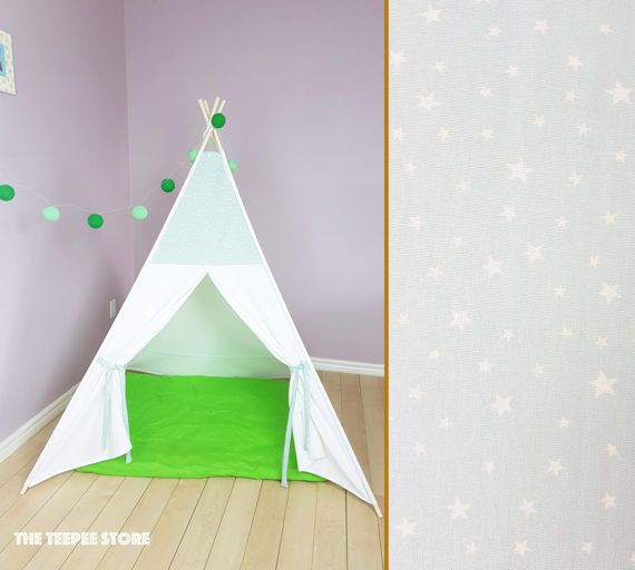 Mint White Stars Teepee  Outside Pole's Pockets