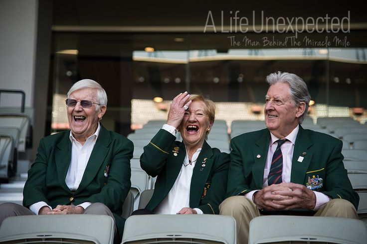 1956 Olympians Neil Robbins, Marg Woodlock-McLean and Bob Joyce during filming in the stands of the MCG.  Photo by Stefano Ferro