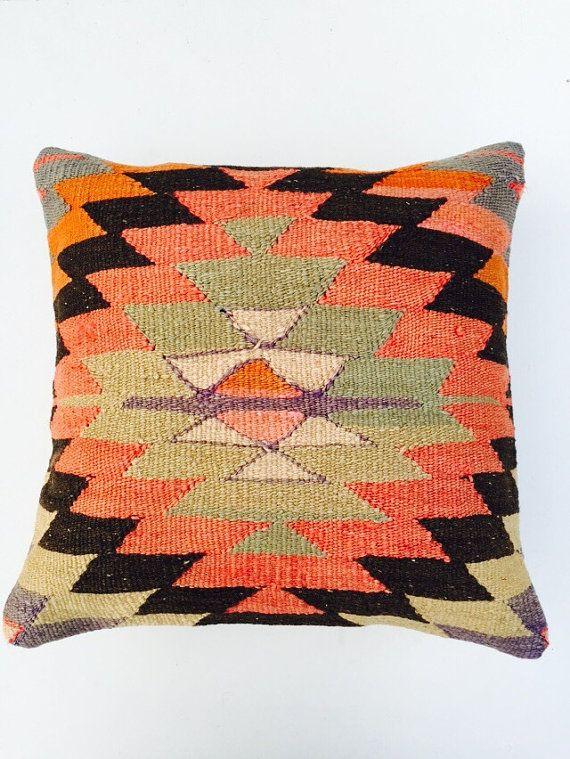 Pastel color Bohemian Kilim Pillow Home Decor by PergamonArt