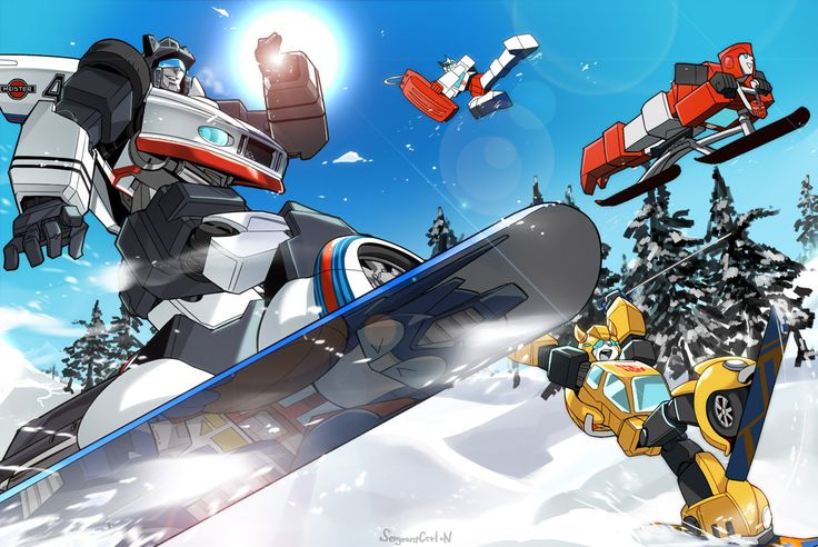 transformers.  snowboarding robots (not) in disguise.