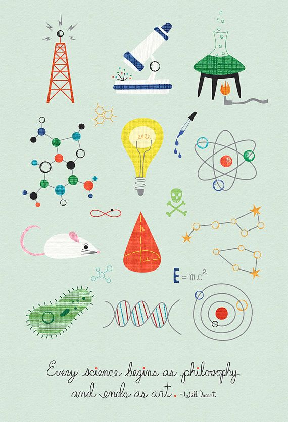 Every Science Begins as Philosophy and Ends as Art- Science Poster- Children's Room Decor- Science Decor- Nursery Decor